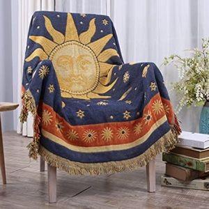 Vintage Sun & Stars Woven Tapestry Throw Blanket